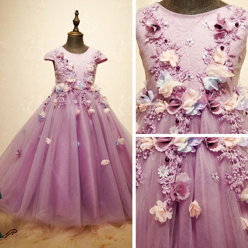 Chic / Beautiful Church Wedding Party Dresses 2017 Flower Girl Dresses Lilac Ball Gown Ankle Length Scoop Neck Short Sleeve Pearl