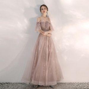 Elegancka Ecru Sukienki Na Bal 2020 Princessa Wzburzyć Przy Ramieniu Gwiazda Z Koronki Kótkie Rękawy Bez Pleców Długie Sukienki Wizytowe
