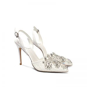 Charming Ivory Lace Rhinestone Wedding Shoes 2020 Ankle Strap 10 cm Stiletto Heels Pointed Toe Wedding Heels
