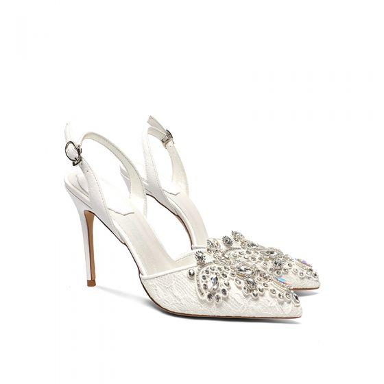 Charming Ivory Lace Rhinestone Wedding Shoes 2020 Ankle Strap 10 cm Stiletto Heels Pointed Toe Wedding Heels