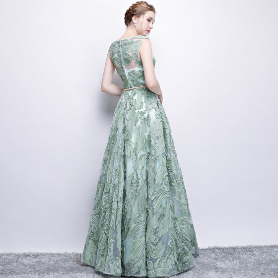 Chic / Beautiful Sage Green Evening Dresses  2017 A-Line / Princess Metal Sash Scoop Neck Floor-Length / Long Formal Dresses