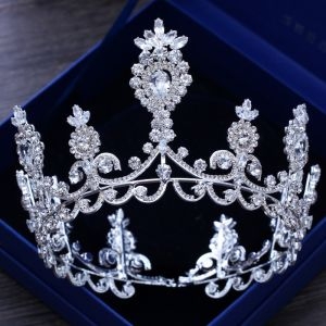 Luxury / Gorgeous Silver Wedding Tiara 2018 Metal Rhinestone Accessories
