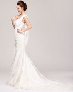 Exquisite Lacework Beading One Shoulder Satin Mermaid Wedding Dress