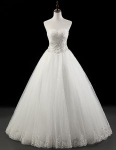 2015 Gorgeous A-line Strapless Floor-length Bridal Gown Crystal Wedding Dress