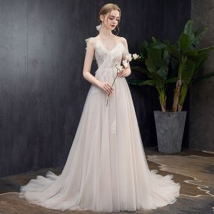 Chic / Beautiful Light Champagne Wedding Dresses 2019 A-Line / Princess V-Neck Lace Flower Short Sleeve Backless Court Train