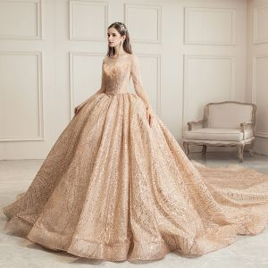 Sparkly Champagne See-through Wedding Dresses 2019 Ball Gown Square Neckline Long Sleeve Backless Heart-shaped Sequins Beading Royal Train Ruffle