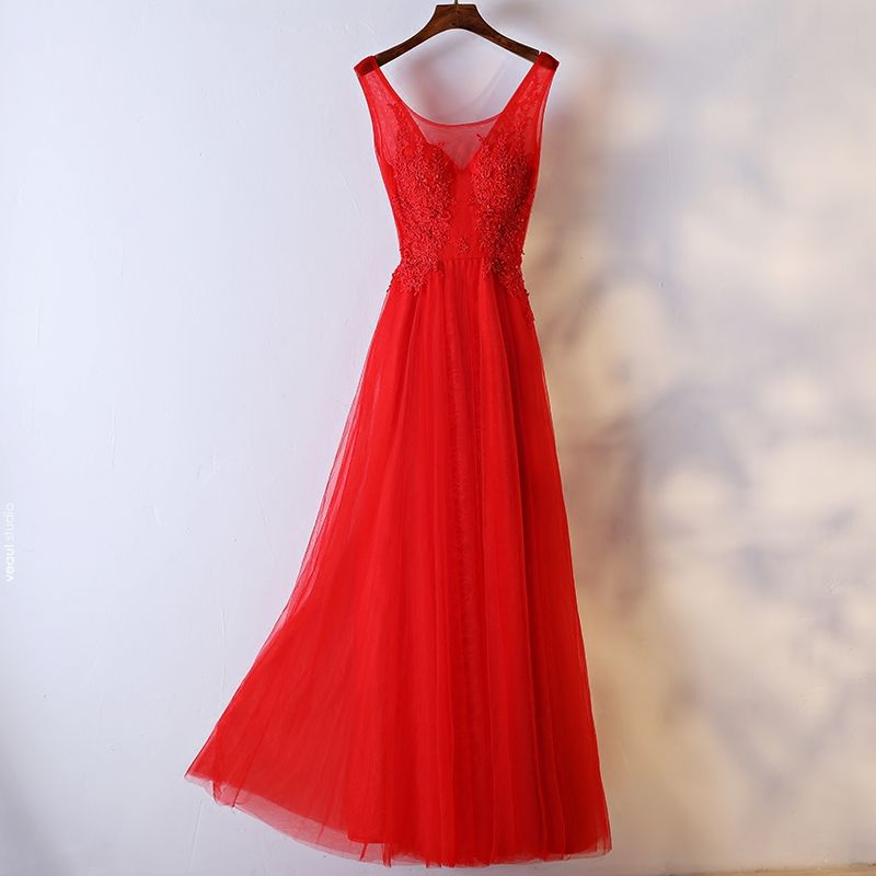 Chic / Beautiful Red Formal Dresses Evening Dresses  2017 Lace Flower Pearl Scoop Neck Sleeveless Ankle Length A-Line / Princess