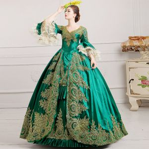 Vintage / Retro Green Puffy Ball Gown Prom Dresses 2018 3/4 Sleeve Charmeuse V-Neck Lace-up Appliques Beading Formal Dresses