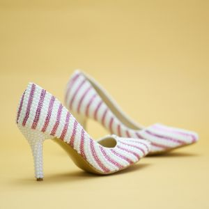 Chic / Beautiful Candy Pink Prom Pumps 2019 Striped Rhinestone 8 cm Stiletto Heels Round Toe Pumps