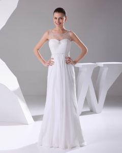 Elegant Chiffon Charmeuse Tulle Beading Square Neck Floor Length Women Wedding Dress