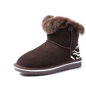 Mode Schneestiefel 2017 Schokolade Leder Ankle Boots Gestreift Freizeit Winter Flache Stiefel Damen Wildleder