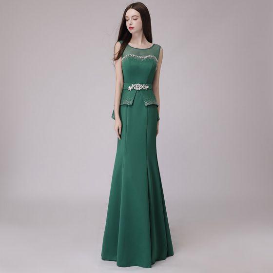 11211fd392 Descuento Verde Oscuro Transparentes Vestidos de noche 2018 Trumpet   Mermaid  Scoop Escote Sin Mangas Rhinestone Cinturón ...
