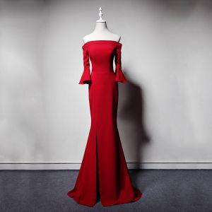Simple Rouge Robe De Soirée 2019 Trompette / Sirène De l'épaule Manches de cloche Fendue devant Longue Dos Nu Robe De Ceremonie