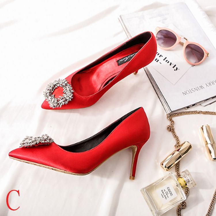Chic / Beautiful 2017 7 cm Black Red Casual Evening Party Leather Spring Rhinestone High Heels Stiletto Heels Pumps