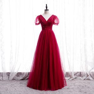 Chic / Belle Rouge Dansant Robe De Bal 2020 Princesse V-Cou Gonflée Manches Courtes Perlage Longue Volants Dos Nu Robe De Ceremonie