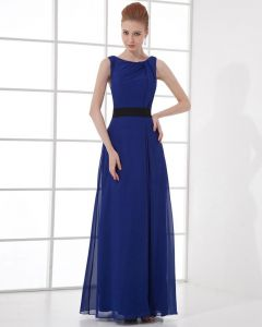 Fashion Chiffon Pleated Bateau Floor Length Celebrity Party Dress