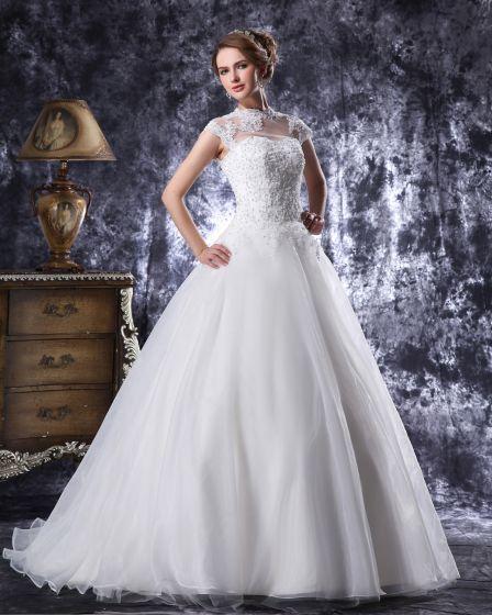 Hog Hals Golv Langd Beading Applikationer Organza Balklänning Brudklänningar Bröllopsklänningar