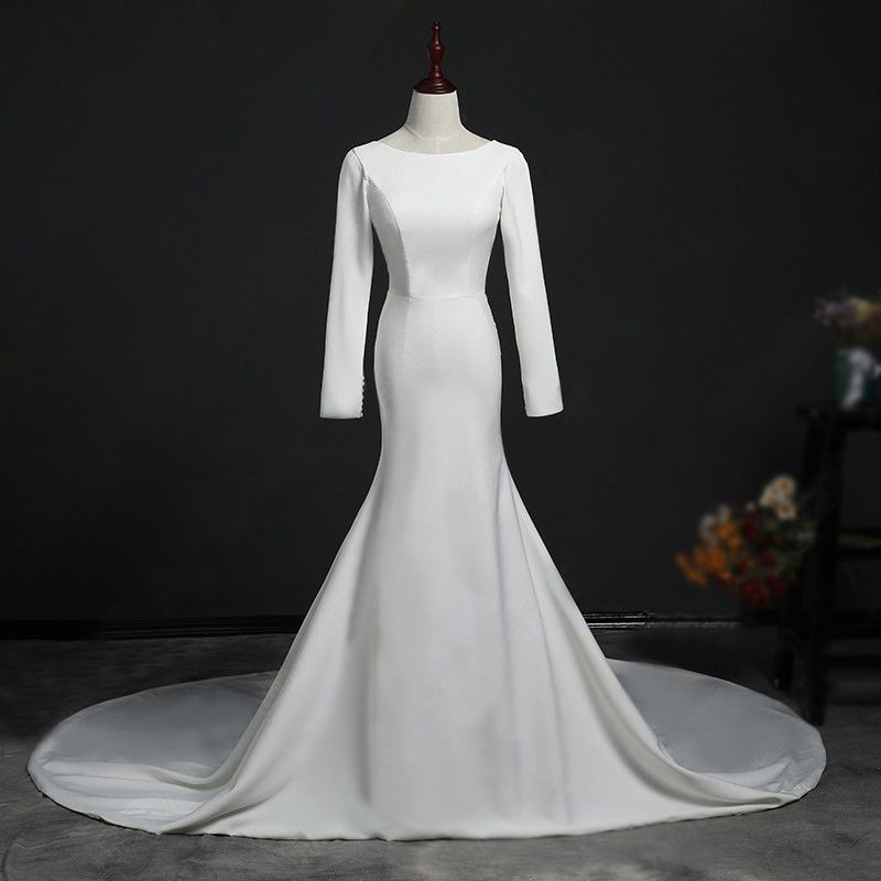 Modest / Simple Ivory Wedding Dresses 2018 Trumpet / Mermaid Scoop Neck Long Sleeve Backless Cathedral Train