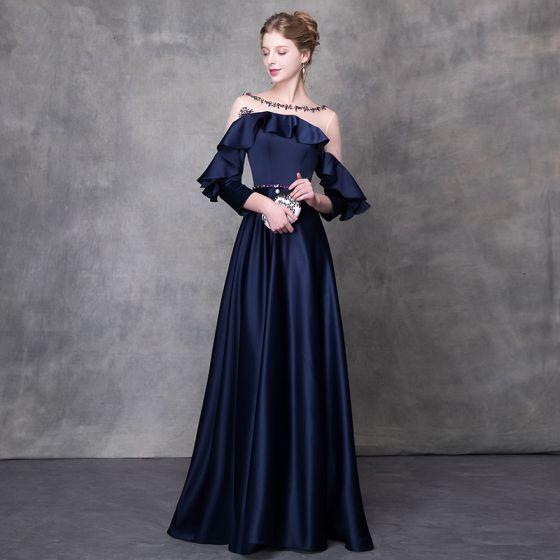 Elegant Navy Blue Evening Dresses  2018 A-Line / Princess Crystal Sash Scoop Neck Backless Long Sleeve Floor-Length / Long Formal Dresses