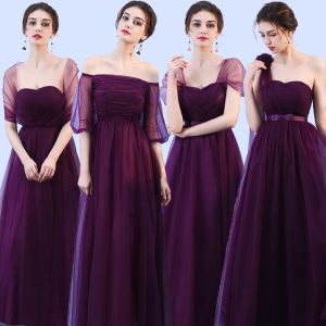 Wedding Party Dresses Bridesmaid Dresses Grape Crossed Straps Backless Bow Ankle Length Tulle Wedding Bridesmaid Fall Spring Summer Modest / Simple A-Line / Princess 2018