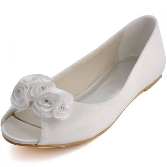 Comfortable And Stylish Handmade Sweet Flowers, Fish Head With Flat Shoes Wedding Shoes
