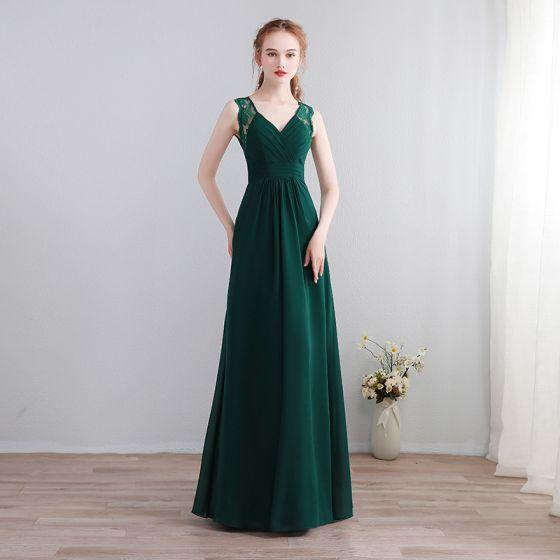 Vestido de noche verde oscuro