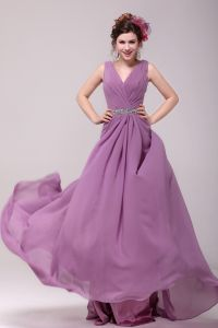 2015 Pretty V-neck A-line Beading Sash Long Bridesmaid Dresses