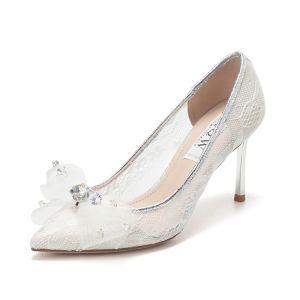 Elegante Ivory / Creme Strass Schleife Spitze Brautschuhe 2020 8 cm Stilettos Spitzschuh Hochzeit Pumps