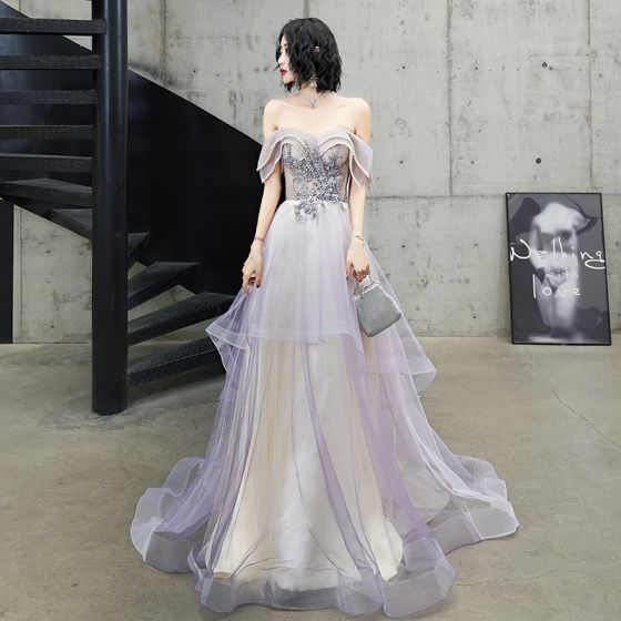 Charming Purple Glitter Evening Dresses  2020 A-Line / Princess Off-The-Shoulder Beading Lace Flower Short Sleeve Backless Sweep Train Formal Dresses