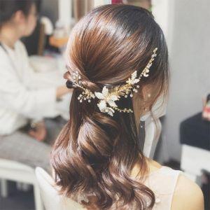 Chic / Beautiful Gold Bridal Hair Accessories 2020 Metal Leaf Rhinestone Beading Headpieces Wedding Accessories