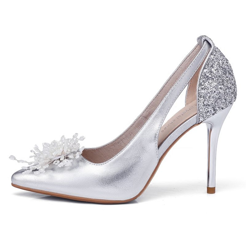 Chic / Beautiful Silver Wedding Shoes 2018 Leather Sequins Handmade  Beading 9 cm Stiletto Heels Pointed Toe Wedding High Heels