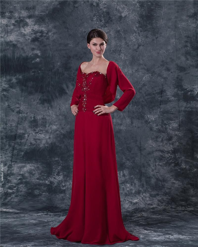Chiffon Applique Embroidery Sweetheart Ankle Length Mothers of Bride Guests Dresses