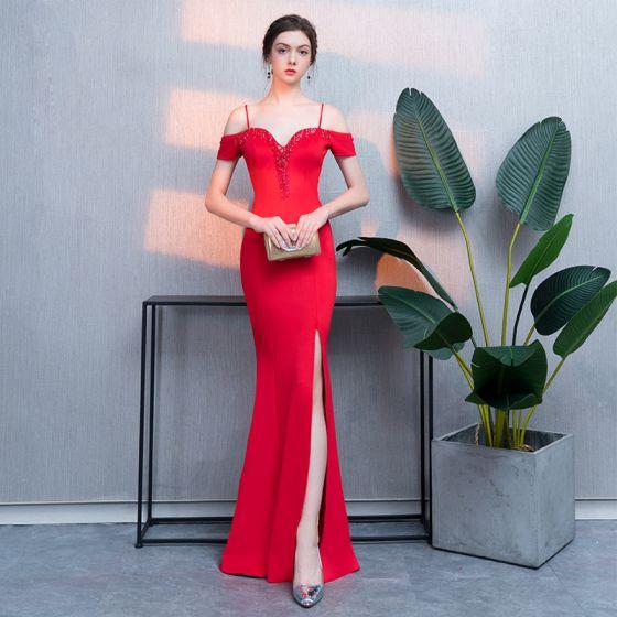 Hermoso Rojo Vestidos de noche 2019 Trumpet / Mermaid Rebordear Tassel Delante De Split Spaghetti Straps Sin Espalda Manga Corta Largos Vestidos Formales