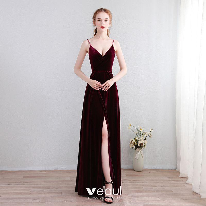 Sencillos Largos Borgoña Vestidos De Noche 2018 A Line Princess V Cuello X Correa Sin Espalda Noche Vestidos Formales
