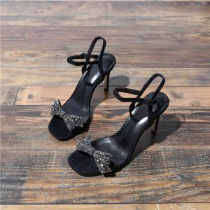 Modest / Simple Summer Black Casual Womens Sandals 2018 Leather Rhinestone Bow Ankle Strap 7 cm Stiletto Heels Open / Peep Toe Sandals