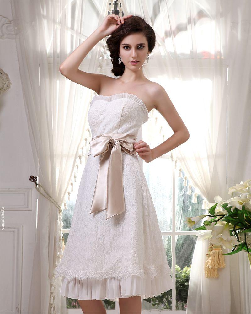 Lace Chiffon Satin Ruffle Sweetheart Short Mini Wedding Dresses