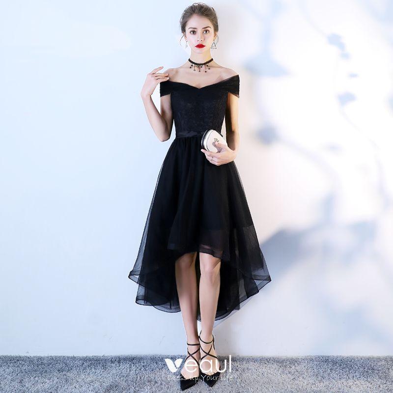 Hermoso Negro De Fiesta Vestidos De Graduación 2018 A Line Princess Bowknot Fuera Del Hombro Sin Espalda Sin Mangas Asimétrico Vestidos Formales