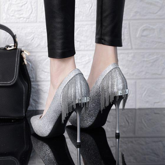 Sparkly Silver Wedding Shoes 2019 Glitter Sequins Tassel 10 cm Stiletto Heels Pointed Toe Wedding Pumps