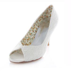 Dentelle Blanche Chaussures De Mariée 8cm Hauts Talons Escarpin Talon Aiguille Peep Toe