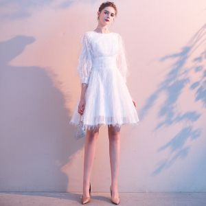 Elegant Ivory Homecoming Tassel Graduation Dresses 2020 A-Line / Princess Scoop Neck 3/4 Sleeve Bow Short Formal Dresses