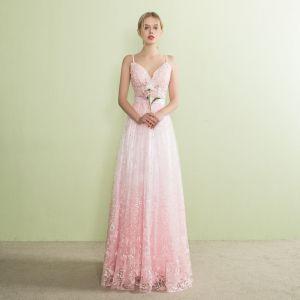 Schöne Farbverlauf Pink Abendkleider 2017 A Linie V-Ausschnitt Ärmellos Spaghettiträger Stoffgürtel Lange Rückenfreies Festliche Kleider