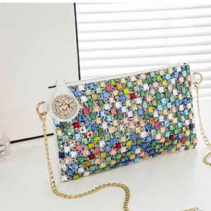 Chic / Beautiful 2017 Outdoor / Garden White Black Crystal Rhinestone PU Beach Cocktail Party Evening Party Clutch Bags