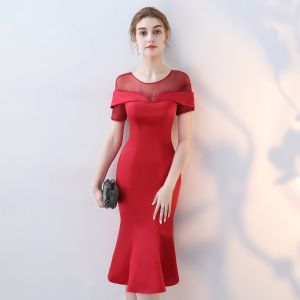 Chic / Beautiful Red Party Dresses 2017 Trumpet / Mermaid Scoop Neck Short Sleeve Rhinestone Tea-length Ruffle Pierced Backless Formal Dresses