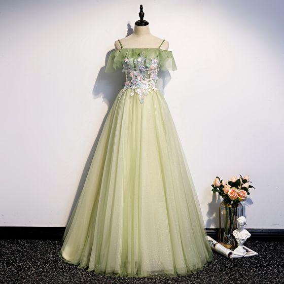 Elegantes Verde Salvia Vestidos de noche 2020 A-Line / Princess Fuera Del Hombro Manga Corta Apliques Flor Rebordear Perla Glitter Tul Largos Sin Espalda Vestidos Formales