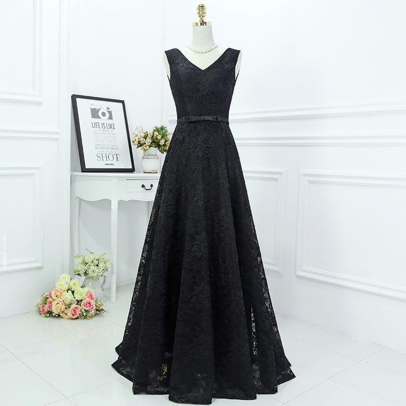 Classique Noir Robe De Ceremonie 2017 Princesse En Dentelle Fleur Noeud V-Cou Sans Manches Longue Robe De Soirée