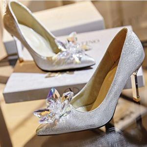 Sparkly Silver Stiletto Heels Pumps Cinderella Crystal High Heel