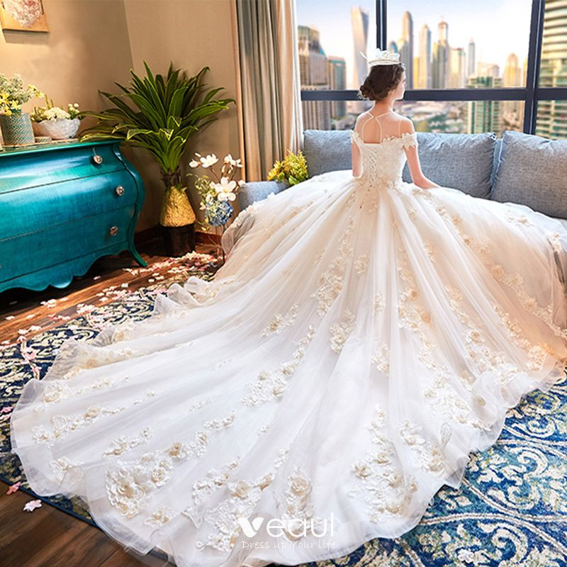 Luxury Gorgeous Ivory Wedding Dresses 2018 Ball Gown