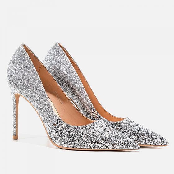 Sparkly Silver Evening Party Sequins Pumps 2021 Leather 10 cm Stiletto Heels Pointed Toe Pumps