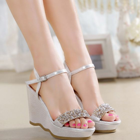 Sparkly Outdoor / Garden Womens Shoes 2017 PU Rhinestone Wedges High Heel Open / Peep Toe Pumps