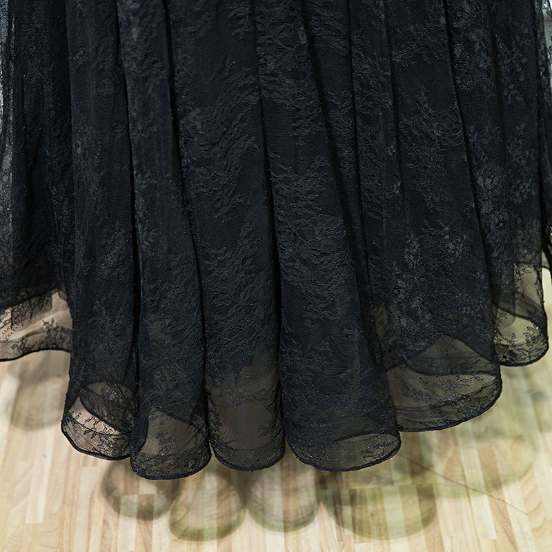 Black Elegant Formal Dresses Lace Flower Strappy Sequins Ankle Length V-Neck Sleeveless Ball Gown A-Line / Princess 2017 Evening Dresses